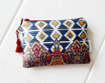 Ladies Ethnic Ikat  Print Cosmetic Bag