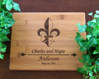 Personalized Cutting Board, Custom Engraved, Fleur De Lis, Wedding Gift, Housewarming Gift, Anniversary Gift, Birthday Gift