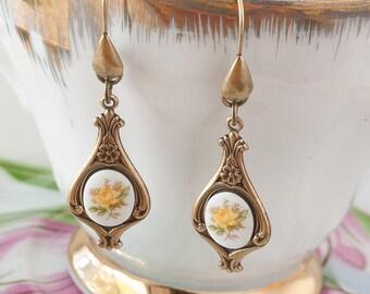 Yellow Rose Earrings, Yellow Earrings, Rose Earrings, Dangle Earrings, Art Nouveau Earrings, Downton Abbey Earrings, Great Gatsby Earrings
