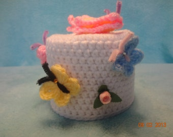 toilet tissue cover,toilet paper cover,butterflies, silk flowers