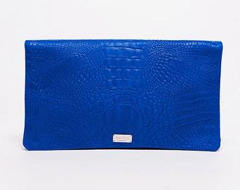 Handbag Trinity/ full grain leather embossed croco/ electric blue # 43