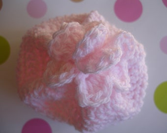 Light Pink Crocheted Baby Beanie with Flower