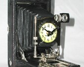 Camera Clock, Upcycled, Reclaimed, Desk Clock - strokeofartshop