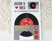 Wedding/ Party Invitations - Vintage Vinyl Record Design x 40