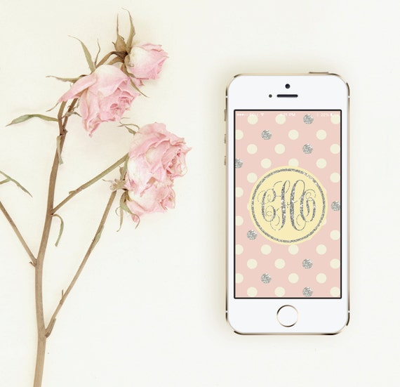 Glitter Polka Dot Monogram iPhone Wallpaper (Blush)