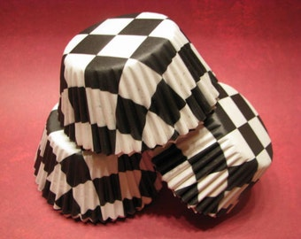 50 Premium Black and White Squares Checkerboard Racing Cupcake Wrapper/ Checkered Baking Cups/ Cupcake Liners