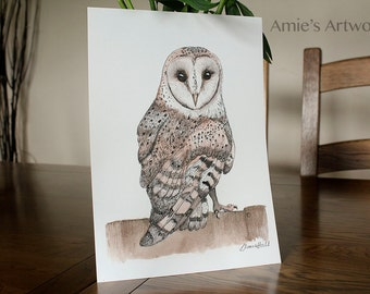 Barn Owl Print Watercolour Archival Giclee Traditional