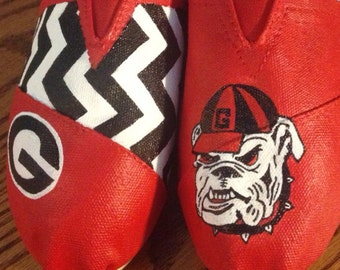 Hand Painted Georgia Bulldog Toms- NOTE: Personalized to any design, college, or character(s) you want