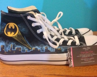 Custom Hand Painted Batman Converse- NOTE: Personalized to any design, college, or character(s) you want, on any type of canvas shoes