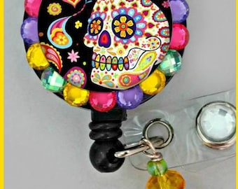 black colorful skull  ID badge reel (E71)