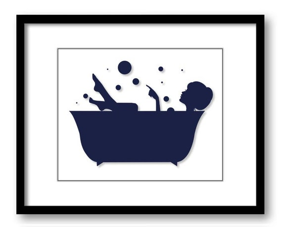 Bathroom decor bathroom print blue navy white girl with hair for Navy and white bathroom accessories