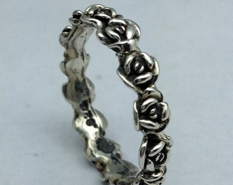 Sterling Silver Roses Band