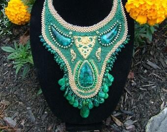Azure Sea .... Bead embroidered collar..necklace.... EBW team member