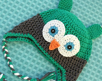 Green and Grey Boy Owl Hat with Ear Flaps - Newborn, Baby, Toddler
