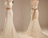 Open ivory V back light champagne sash lace wedding dress custom