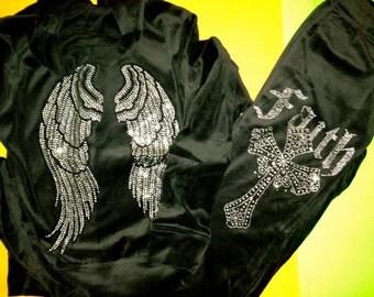 Girl's Velour Angel Wings hoodie Set. Black Velour Pants and hoodie. Juniors Velour Faith, Cross , Angel Wings Set. Girls 10, 12, 14,16.