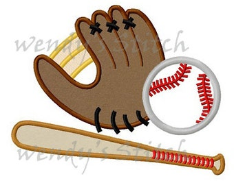 Baseball sports applique machine embroidery design digital pattern