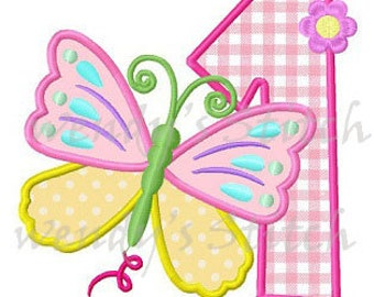 Butterfly birthday number applique machine embroidery design digital pattern