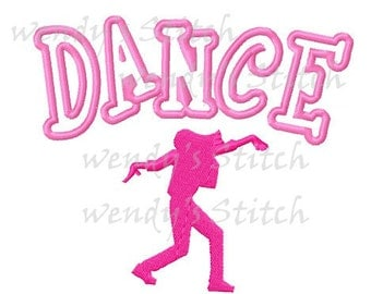 Dance applique machine embroidery design instant download