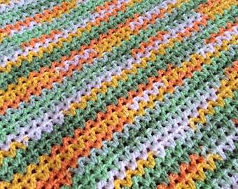 Green & Yellow Crochet Baby/Toddler Blanket