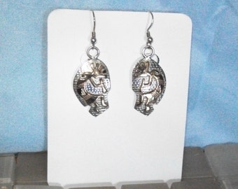 Silver with Gold Plated Kokopelli Earrings