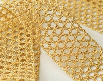 GOLD Metallic Thread Lace Trim for Bridal, Costume or Jewelry, Crafts and Sewing, 1-3/4 Inch by 1 Yard, SMB-3012
