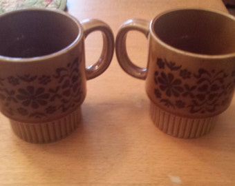 Vintage Brown Flower Design Made in Japan Stacking Mugs