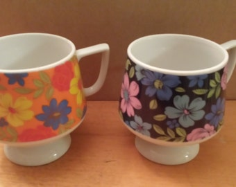 Vintage Flower Power Made in Japan Stacking Mugs Set of 2