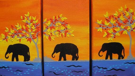 Elephant Elephants Orange Yellow Blue Purple Tree By
