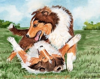 "4 Sheltie Notecards, with envelopes, 5 1/2"" x 4 1/4"",  ""Sheltie Giggles"",  Blank, Handmade, DOG LOVER GIFT, Note Card, Sheltie Art"