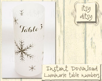 Printable Luminaries Snowflake winter wedding table number luminary table numbers 21 to 30 DIY luminaries perfect for a winter wedding theme