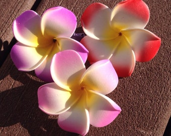 Hawaiian Plumeria Hair Clip- Small