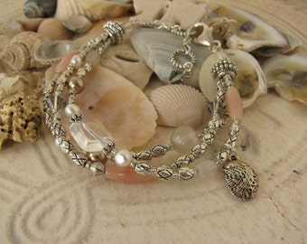 Silver Seashore Beach Coral Pink and Pearl Bracelet with Crystals and Abalone Drop (#262)