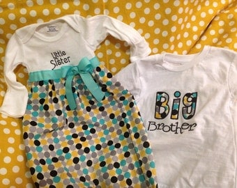 Big brother little sister sibling set.  One tshirt one bodysuit gown