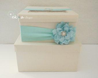 Wedding card box / money box / gift card holder / gift card box / 2 Tier (Ivory & Aqua)