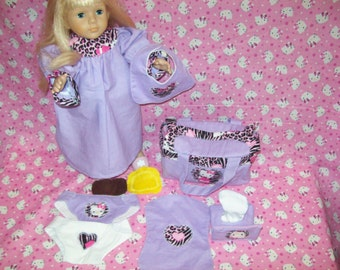 Quilted Doll Diaper Bag 9pc Set/Choice of Colors & Fabrics/American Girl Doll Bag/Doll Case/Doll Play Set/ Doll Diapers/Doll Diapers/