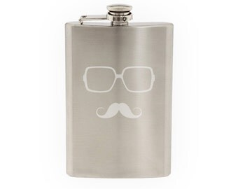 Glasses with Mustache #4 - Hipster Style Fancy Goofy- Etched 8 Oz Stainless Steel Flask