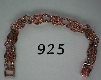 Art Deco Sterling Silver Marcasite Link Bracelet - 3458