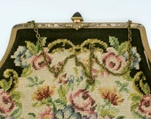 Beautiful Vintage Petit Point Purse with Rhinestones Fine Floral Design