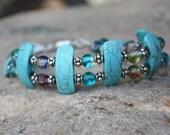 RESERVED FOR CRAFTYSARA Turquoise blue slider beaded bracelet