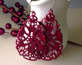 Burgundy Teardrop Earrings (Large), Burgundy Earrings, Painted Filagree Earrings, Marsala Long Earrings, Maroon Earrings, Filagree Earrings