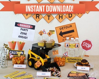 Construction Party Printable Collection & Invitations - Edit and print at home with Adobe Reader