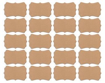 Blank Stickers / Blank self Adhesive Labels - for Baby Shower - Wedding Favor - Envelope Seal - Bracket shape