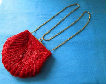 SALE Vintage Red Beaded Purse