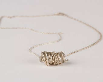 Sterling Silver Threads Necklace- Lost Wax Jewelry