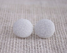 Fabric Button Earrings - White on White Floral