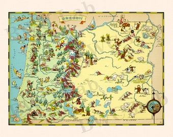 Pictorial Map of Oregon - colorful fun illustration of vintage state map