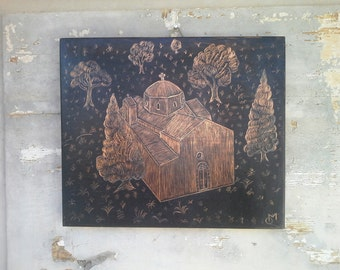 Church Copper Drawing, Engraved Copper, Unique Etched Copper Art, Hand Carved Copper Wall Decor
