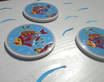 Retro Ceramic Coaster, Fish Coaster, Greek Ceramic, Mediterranean Decor, Blue Ceramic, Sea Coaster