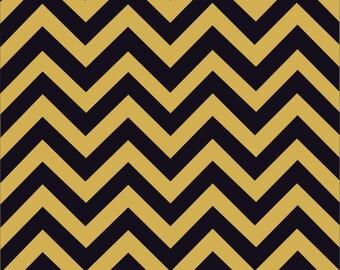 Black and gold chevron craft  vinyl sheet - HTV or Adhesive Vinyl -  black and gold zig zag pattern   HTV118